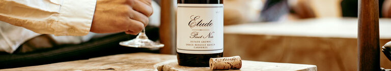 Closeup of etude estate pinot noir label