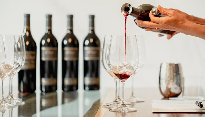 etude cabernet sauvignon pouring into a glass