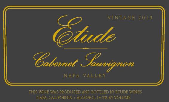 Etude 2013 Napa Valley Cabernet Sauvignon Front Label