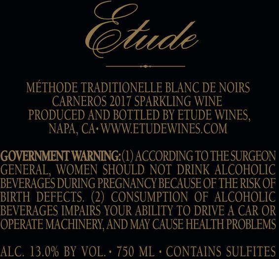 2017 Etude Grace Benoist Ranch Carneros Blanc de Noirs Back Label