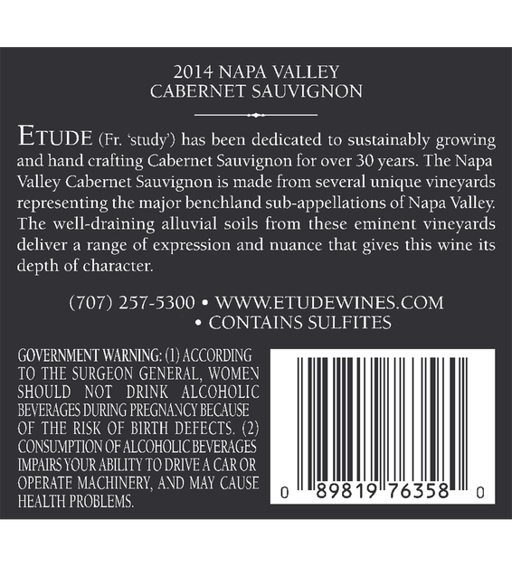 Etude 2014 Napa Valley Cabernet Sauvignon Back Label