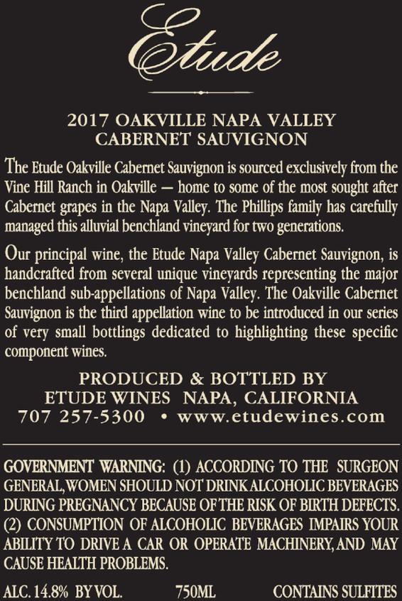 2017 Etude Oakville Napa Valley Cabernet Sauvignon Back Label