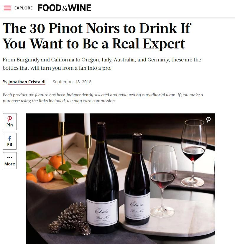 food and wine article on etude wines